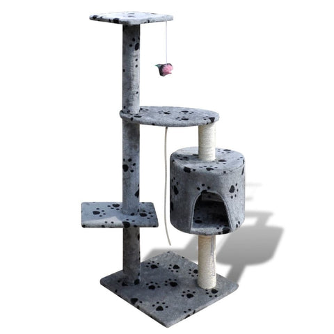 1 Condo Grey with Pawprints Cat Tree Scratching Post - 114 cm