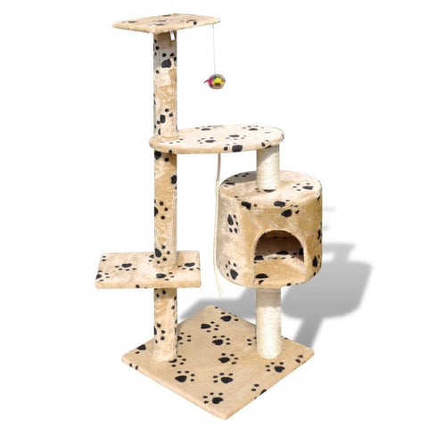1 Condo Beige with Pawprints Cat Tree Scratching Post - 114 cm