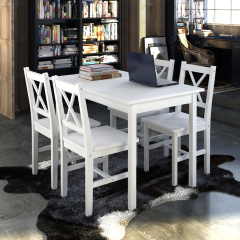 White Wooden Table with 4 Wooden Chairs