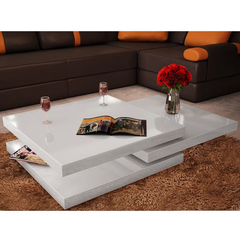White 3 Layer High Gloss Coffee Table