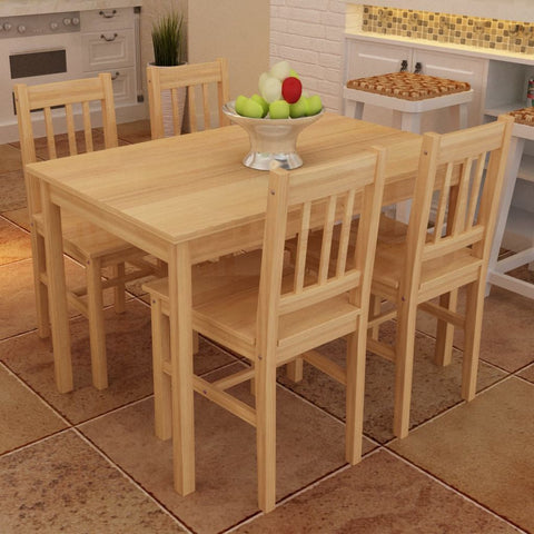 Natural Wooden Dining Table with 4 Chairs