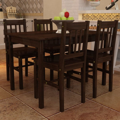Brown Wooden Dining Table with 4 Chairs