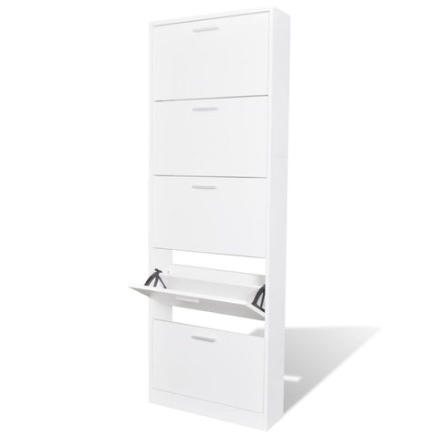 White Wooden Shoe Cabinet - 5 Compartments