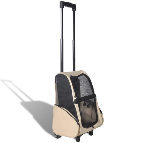 Beige Foldable Multipurpose Pet Trolley