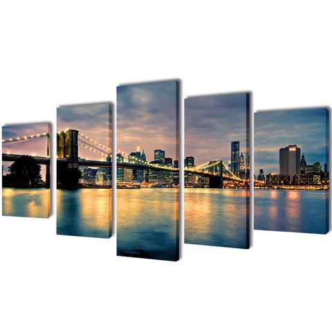 Brooklyn Bridge River View Canvas Wall Print Set - 100 x 50 cm