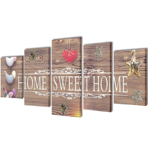 Canvas Wall Print Set - Home Sweet Home - 200 x 100 cm