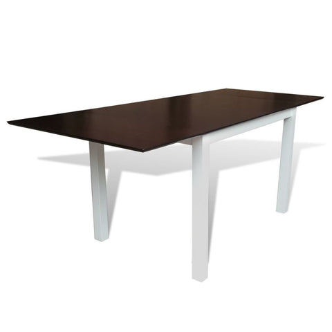 Solid Wooden Brown & White Extending Dining Table - 195 cm