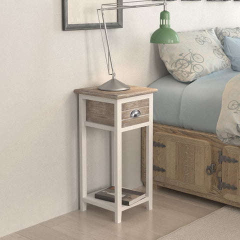 Brown & White Bedside Cabinet