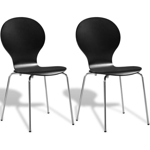 2 Black Stackable Butterfly Dining Chairs