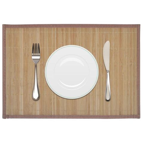 6 Brown Bamboo Placemats