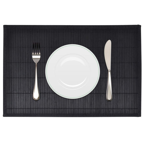 6 Black Bamboo Placemats