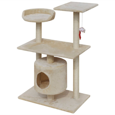 1 House Beige Cat Tree Scratching Post - 94.5 cm