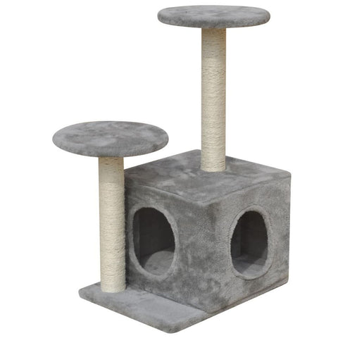 1 House Grey Cat Tree Scratching Post 64 cm