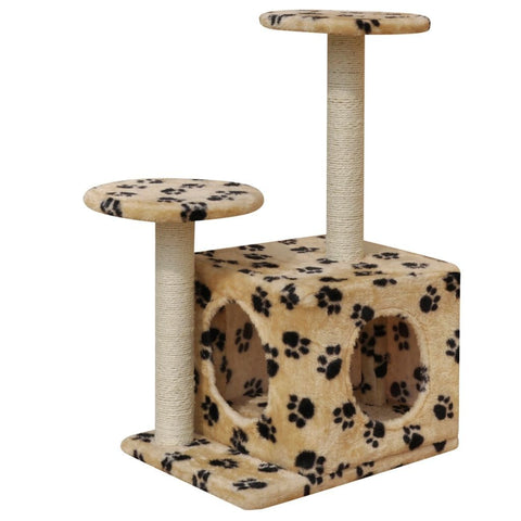 1 House Beige with Paw Prints Cat Tree Scratching Post - 64 cm