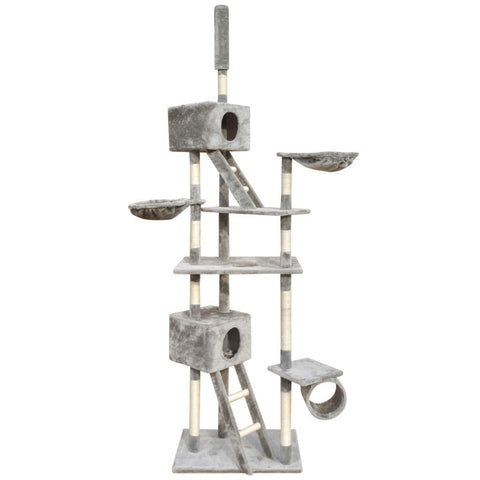 2 Houses Grey Cat Tree Scratching Post - 230-260 cm
