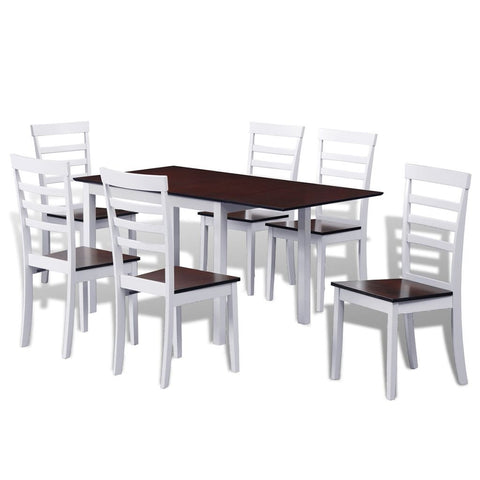 Solid Wood Extending Dining Table Set with 6 Chairs