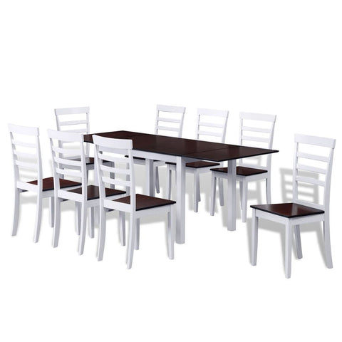 Solid Wood Extending Dining Table with 8 Chairs