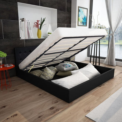 Black Leather Lifting Bed Frame