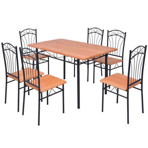 Seven Piece Brown Dining Set