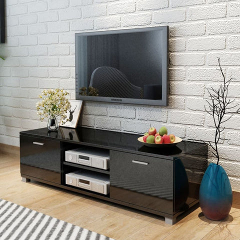 Black High-Gloss TV Cabinet