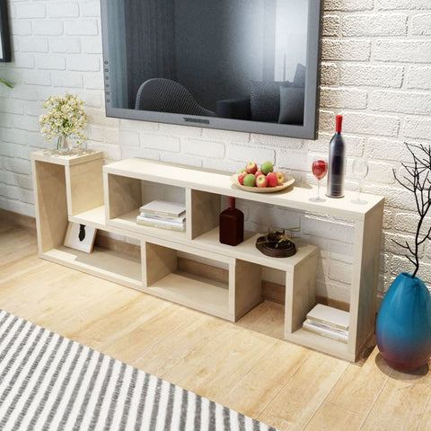 Double L-Shaped Oak TV Cabinet