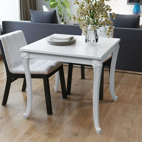 White High Gloss Dining Table - 80 x 80 x 76 cm