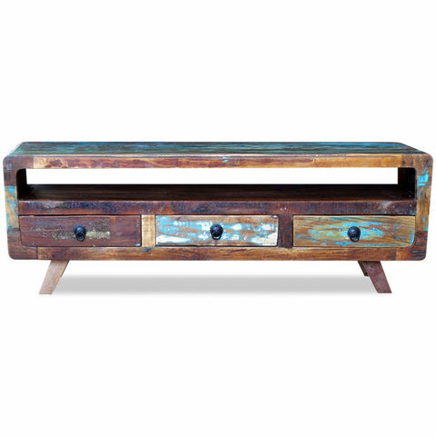 Solid Reclaimed Wood TV Cabinet with 3 Drawers