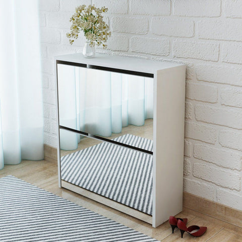 White Mirrored Shoe Storage Cabinet