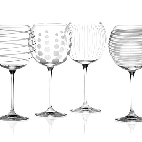 Set of 4 Patterned Crystal Balloon Wine Glasses