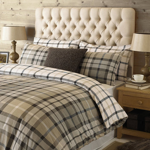 100% Cotton Beige Tartan Duvet Set
