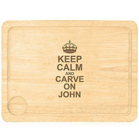 Keep Calm & Carve On Personalised Chopping Board