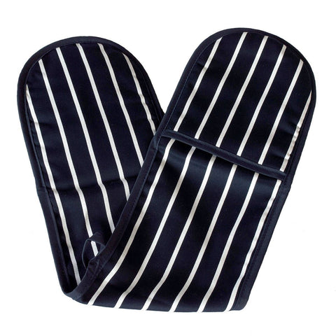 100% Cotton Navy and White Striped Oven Gloves