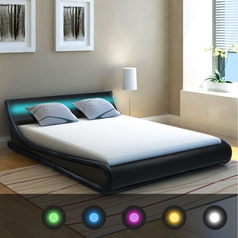 King Size Leather Bed Frame with LED Lights