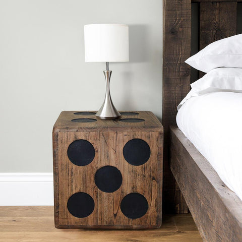 Wooden Dice Bedside Table