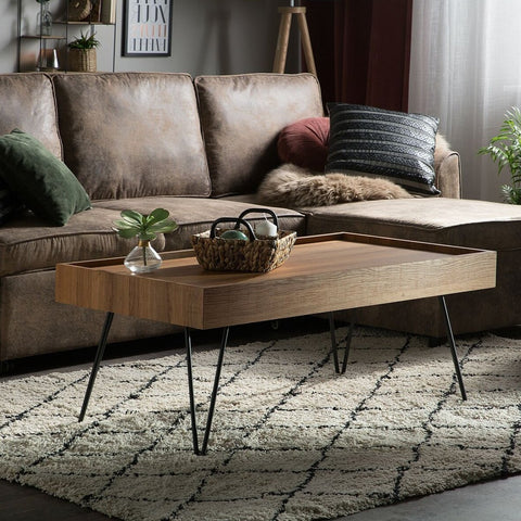 Brown Wooden Rectangular Coffee Table