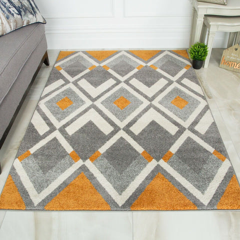 Orange & Grey Triangles Rug