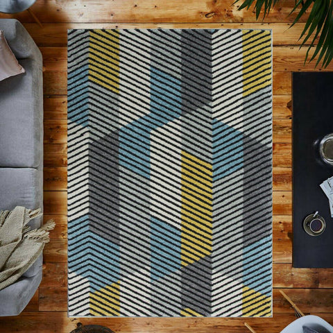3D Blue, Yellow & Grey Lined Rug