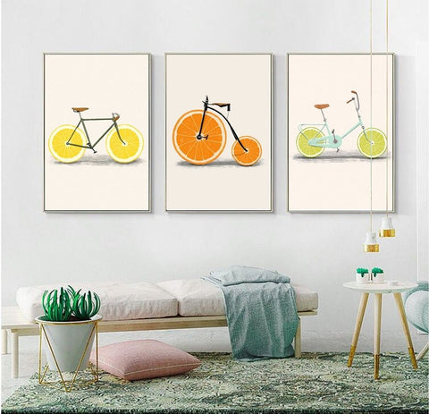 3pc Fruit Bicycle Prints Set