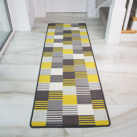 Yellow & White Oyo Runner Rug