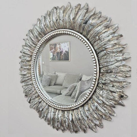 Ornate Silver Feather Mirror