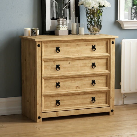 Solid Pine Wood Chest of 4 Drawers