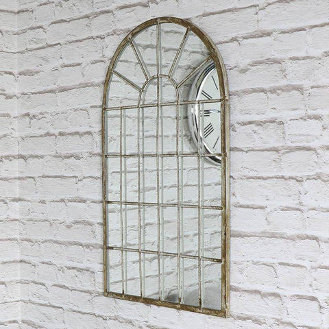 Rustic Cream Arched Window Mirror