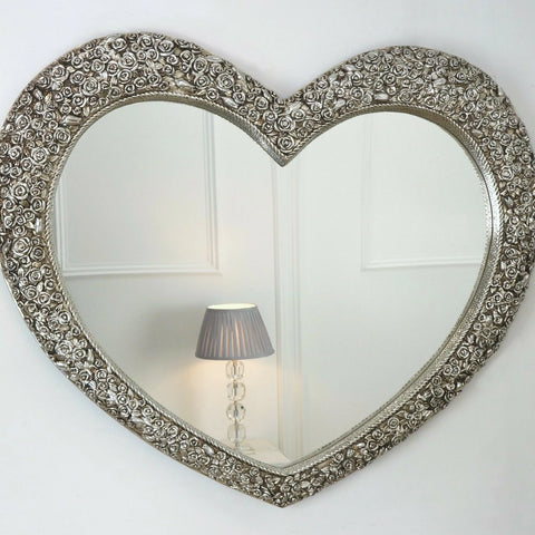 Large Rose Heart Champagne Mirror