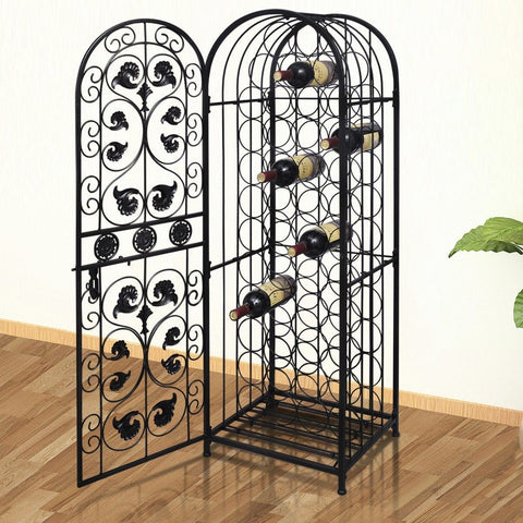 45 Bottle Wrought Iron Wine Cabinet
