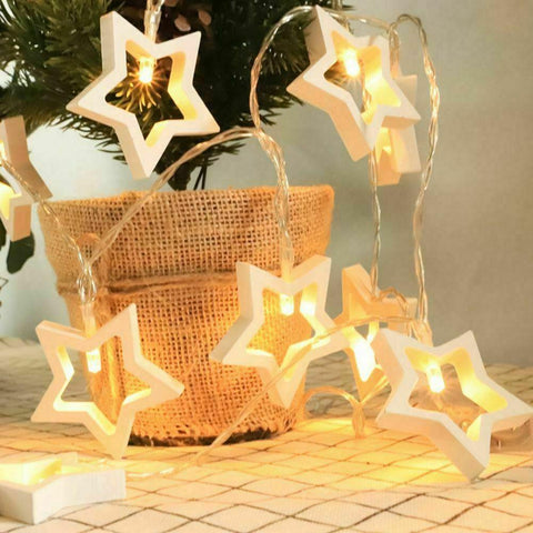 Wooden Fairy Star Lights