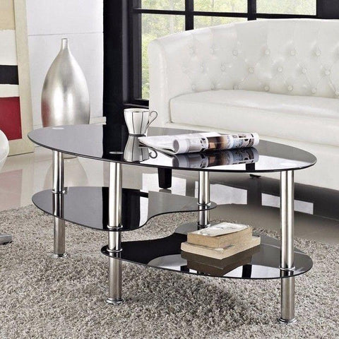 Contemporary Black Glass Coffee Table