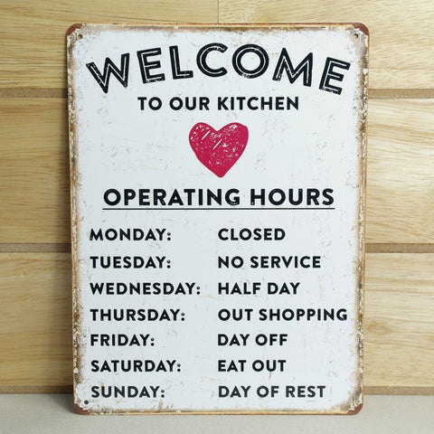 Kitchen Opening Hours Plaque