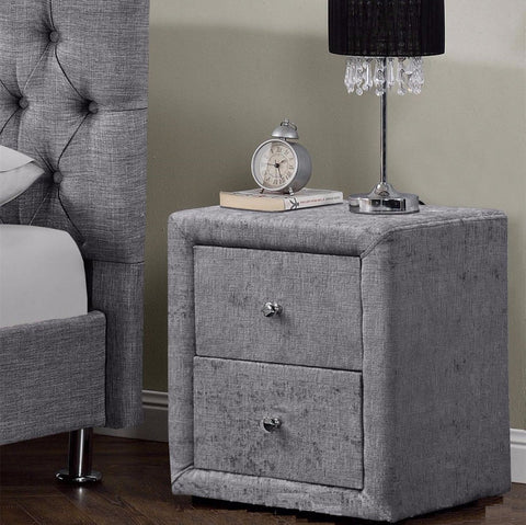Grey Chenille Bedside Table