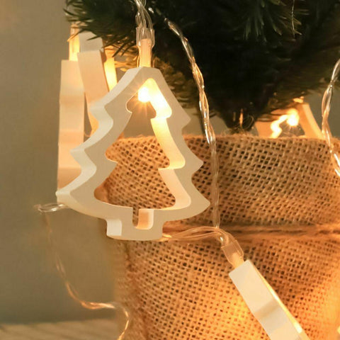 Wooden Christmas Tree Lights
