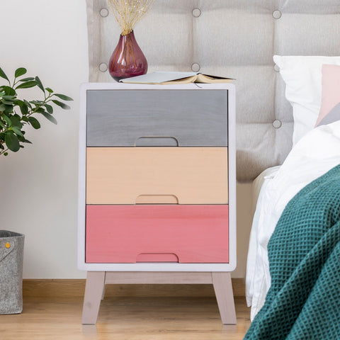 Colourful 3 Drawers Bedside Table